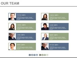 Eight Staged Organizational Chart For Team Members Powerpoint Slides
