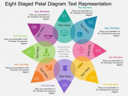Eight Staged Petal Diagram Text Representation Flat Powerpoint Design