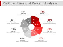 Eight Staged Pie Chart Financial Percentage Analysis Powerpoint Slides