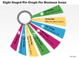 Eight Staged Pie Graph For Business Icons Flat Powerpoint Design