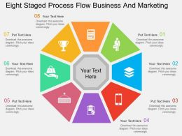 Eight Staged Process Flow Business And Marketing Flat Powerpoint Design