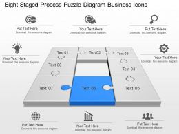 Eight Staged Process Puzzle Diagram Business Icons Powerpoint Template Slide