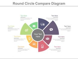 Eight Staged Round Chart With Business Icons Powerpoint Slides