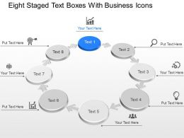 Eight Staged Text Boxes With Business Icons Powerpoint Template Slide