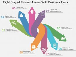 Eight Staged Twisted Arrows With Business Icons Flat Powerpoint Design