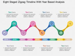 Eight Staged Zigzag Timeline With Year Based Analysis Flat Powerpoint Design