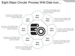 Eight Steps Circular Process With Data Icon And Text Holders