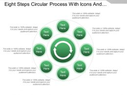 Eight Steps Circular Process With Icons And Text Holders