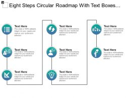 Eight Steps Circular Roadmap With Text Boxes And Icons