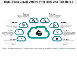 Eight Steps Clouds Arrows With Icons And Text Boxes