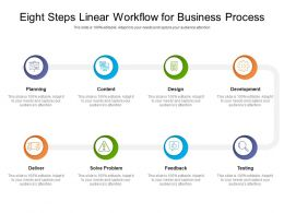 Eight Steps Linear Workflow For Business Process