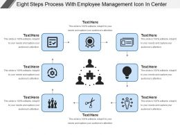 Eight Steps Process With Employee Management Icon In Center