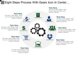 Eight Steps Process With Gears Icon In Center And Text Holders