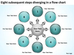 eight subsequent steps diverging a flow chart Cycle PowerPoint templates