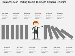 Ej Business Man Holding Blocks Business Solution Diagram Flat Powerpoint Design