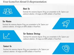 Ej Four Icons For About Us Representation Powerpoint Template