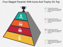 Ej Four Staged Pyramid With Icons And Trophy On Top Flat Powerpoint Design