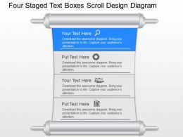 ej Four Staged Text Boxes Scroll Design Diagram Powerpoint Template
