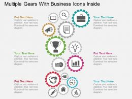 ej Multiple Gears With Business Icons Inside Flat Powerpoint Design