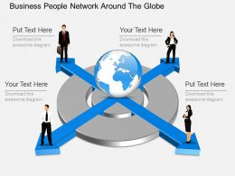 ek Business People Network Around The Globe Powerpoint Template