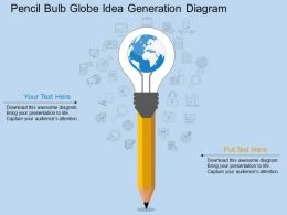 ek Pencil Bulb Globe Idea Generation Diagram Flat Powerpoint Design