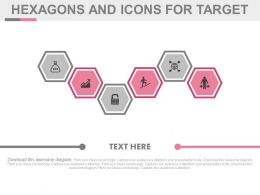 ek Six Staged Hexagons And Icons For Target Flat Powerpoint Design