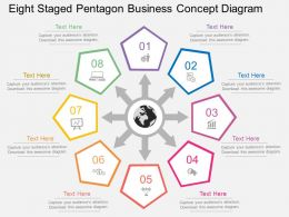 el Eight Staged Pentagon Business Concept Diagram Flat Powerpoint Design