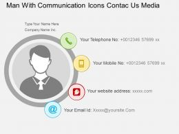 El Man With Communication Icons Contae Us Media Flat Powerpoint Design