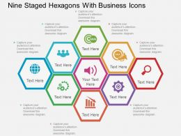 el Nine Staged Hexagons With Business Icons Flat Powerpoint Design