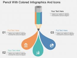 el Pencil With Colored Infographics And Icons Flat Powerpoint Design