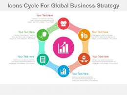 el Six Staged Icons Cycle For Global Business Strategy Flat Powerpoint Design