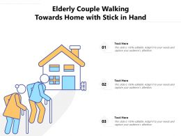 Elderly Couple Walking Towards Home With Stick In Hand