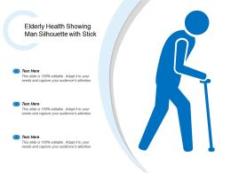 Elderly Health Showing Man Silhouette With Stick