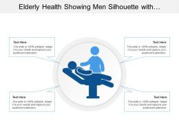 Elderly Health Showing Men Silhouette With Health Aide