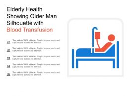Elderly Health Showing Older Man Silhouette With Blood Transfusion