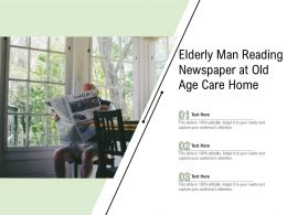 Elderly Man Reading Newspaper At Old Age Care Home