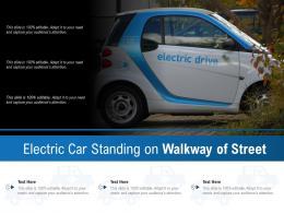 Electric Car Standing On Walkway Of Street