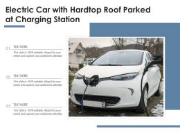 Electric Car With Hardtop Roof Parked At Charging Station