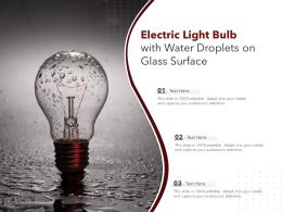 Electric Light Bulb With Water Droplets On Glass Surface