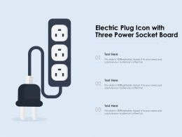 Electric Plug Icon With Three Power Socket Board