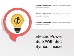 Electric Power Bulb With Bolt Symbol Inside