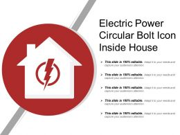 Electric Power Circular Bolt Icon Inside House