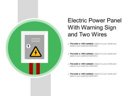 Electric Power Panel With Warning Sign And Two Wires