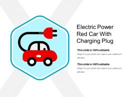 Electric Power Red Car With Charging Plug