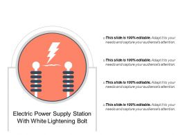 Electric Power Supply Station With White Lightening Bolt