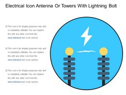 Electrical Icon Antenna Or Towers With Lightning Bolt