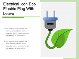 Electrical Icon Eco Electric Plug With Leave
