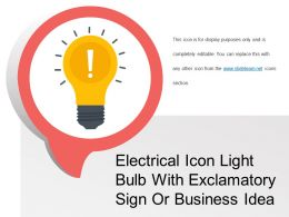 Electrical Icon Light Bulb With Exclamatory Sign Or Business Idea