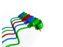 Electrical Plugs With Green Blue And Red Color Showing Team Unity Stock Photo