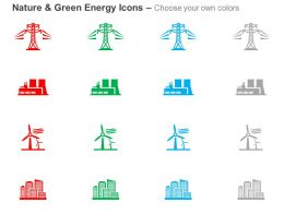 Electrical Power Lines Factory Windmill Building Ppt Icons Graphics